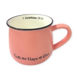Faith Hope Love Mug – Pink