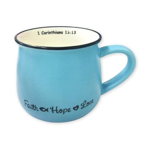 Faith Hope Love Mug – Blue