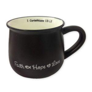 Faith Hope Love Mug – Black
